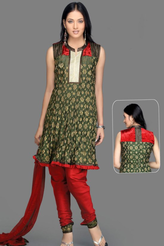 Red and Green Salwar Kameez in Unstitched Format