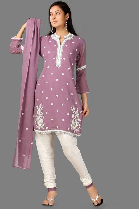 Quarter Sleeve Purple and White Churidar Shalwar Kameez