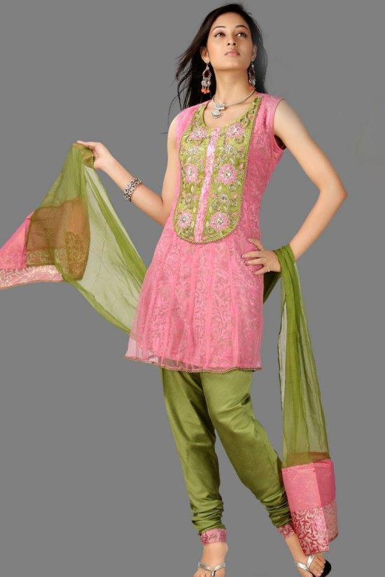 Pink and Green Unstitched Sleeveless Churidar Salwar Kameez
