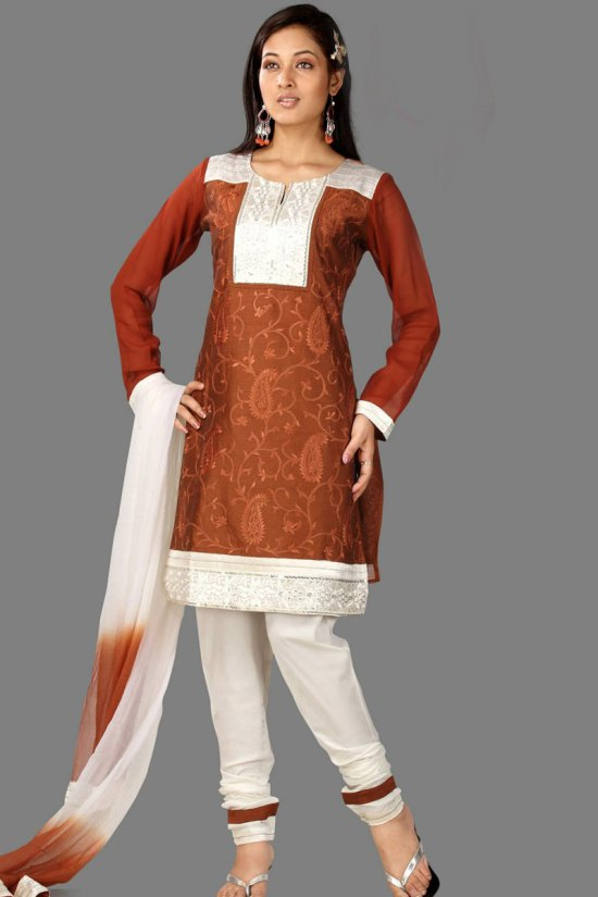 High Neck Full Sleeves Churidar Salwar Kameez in White and Brown Color