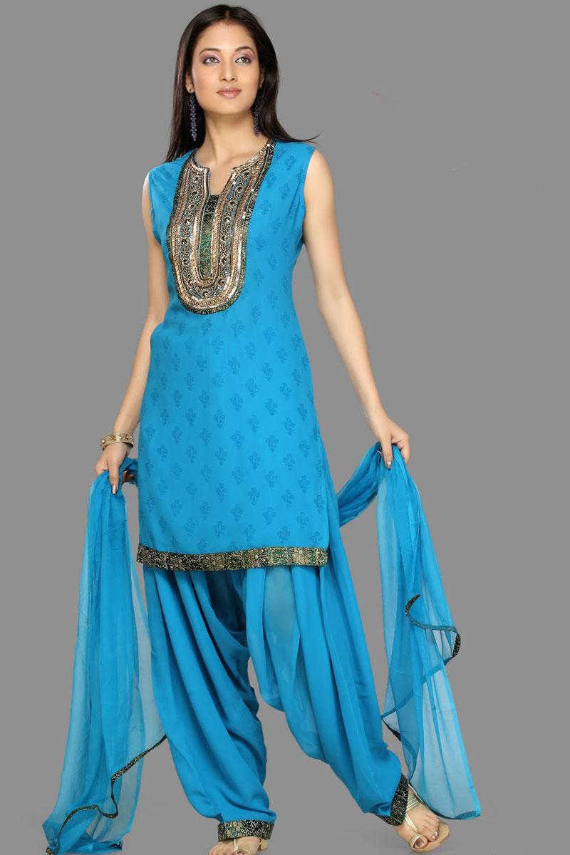 Sleeveless Patiala Salwar Kameez in bright Blue Color – Designer ...