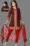 Quarter Sleeves Churidar Kameez in Red and Coffee Brown Color