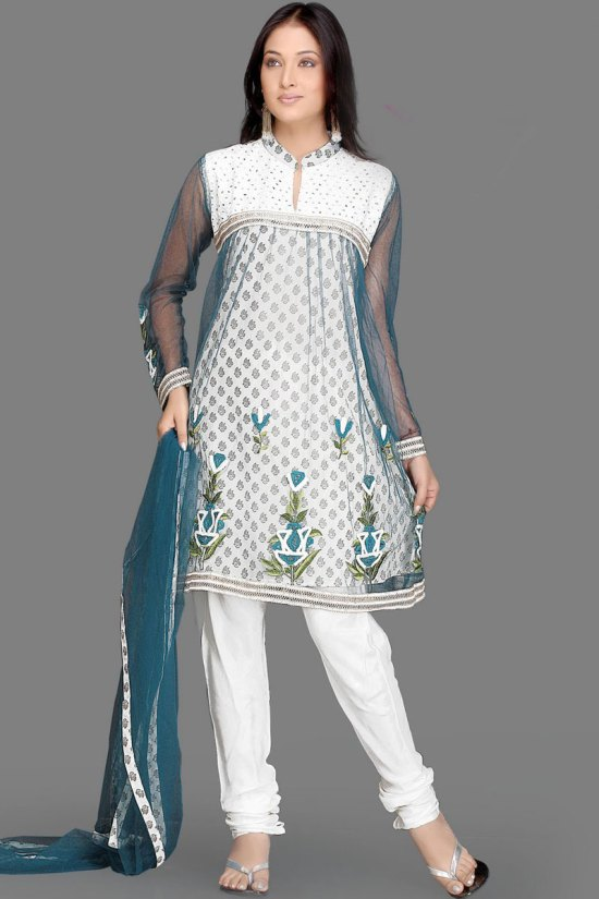 Pure White Churidar Kameez with Full Net Sleeves and Matching Dupatta