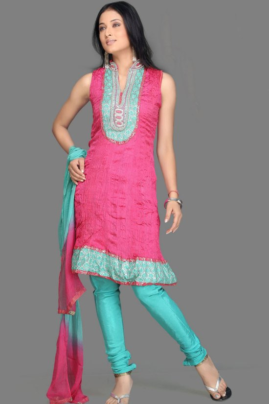 Sleeveless Churidar Designs in Megenta and Turquoise Blue Color