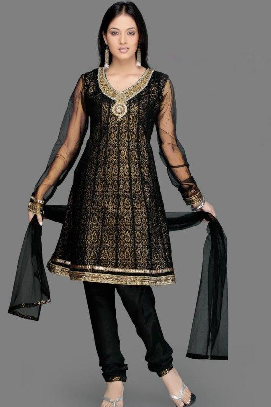 Gorgeous Black Anarkali Churidar Salwar Kameez with Full Net Sleeves