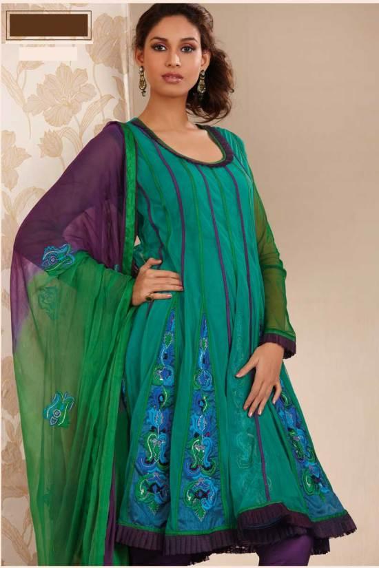 Newly Arrived Anarkali Shalwar Kameez in Bondi Blue Color