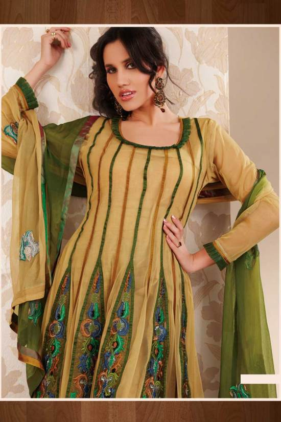 Green and Yellow Anarkali Style Shalwar kameez for Party Wear