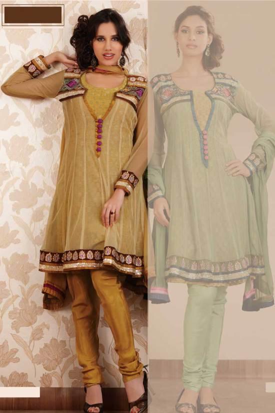 Brown Embroidered Anarkali Churidar Salwar Kameez 2010