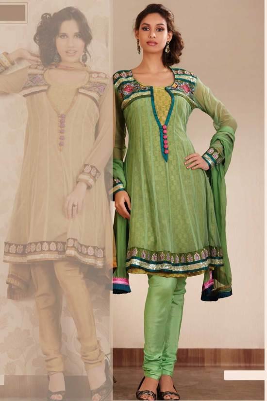 Light Green Anarkali Style Churidar kameez 2010 Collection