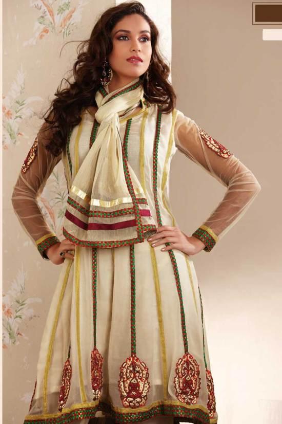 Newly Arrived Anarkali Churidar Salwar Kameez in Cream Color