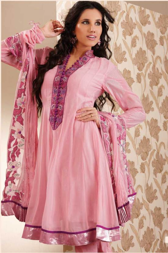 Pink Anarkali Shalwar Kameez Designs for Party and Festival Wear