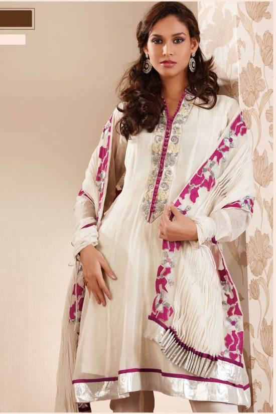 White Anarkali Salwar Kameez for Festival Wear