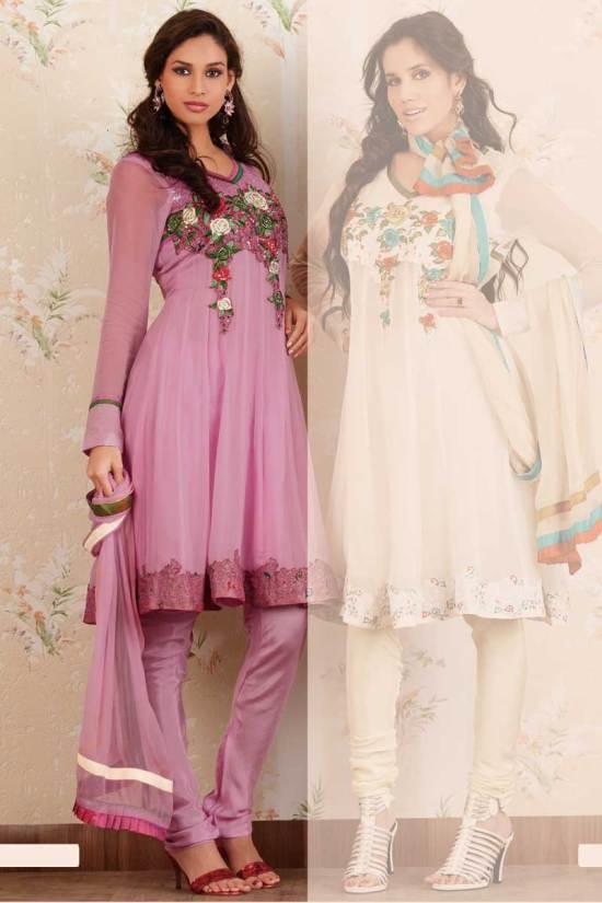 Latest Anarkali Salwar Kameez in Lavender Pink Color for Party