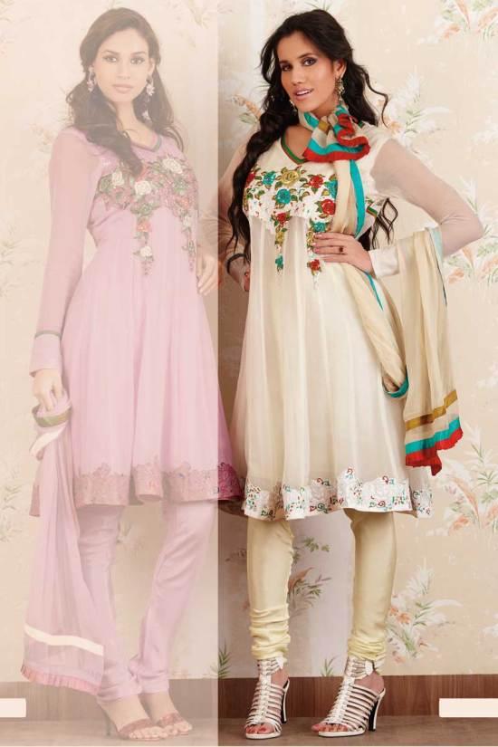 Net Anarkali Churidar Salwar Kameez in Cream White Color
