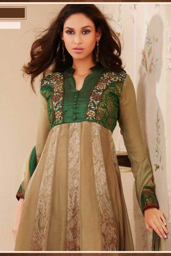 Anarkali Salwar Suit in Brown and Green Color 2010
