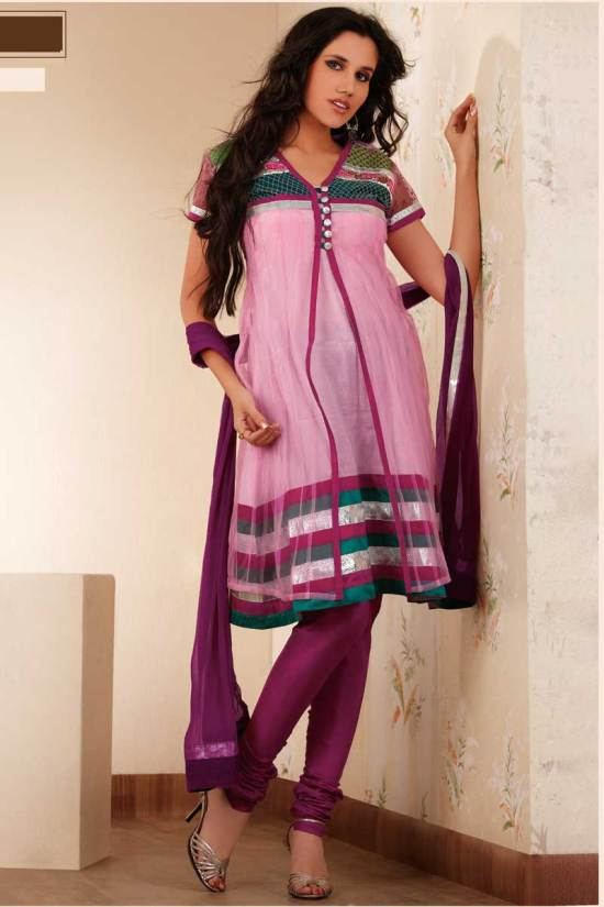 Pink Anarkali Shalwar Suit with Maroon Churidar
