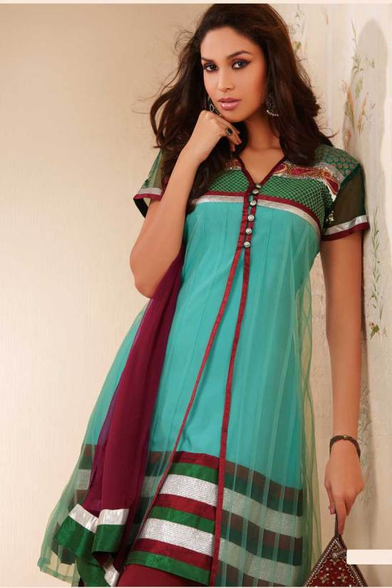 Beautiful Anarkali Salwar Kameez in Cambridge Blue and Maroon Color