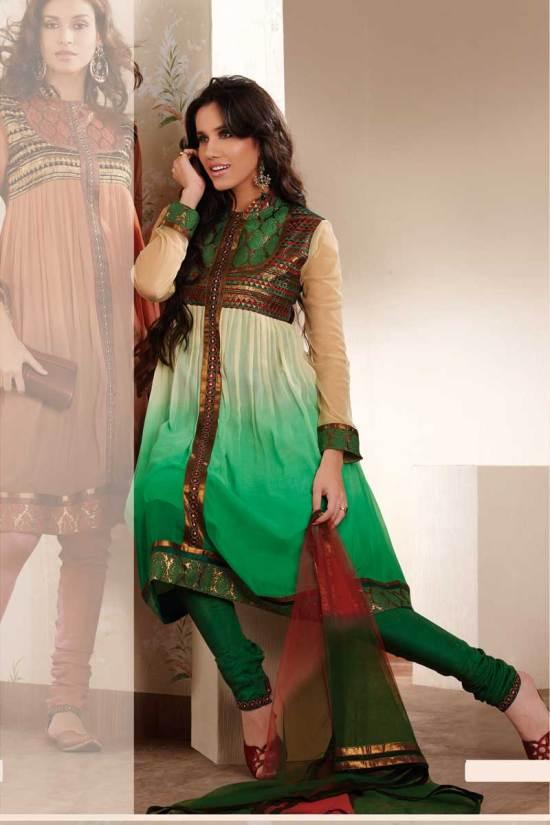 Georgette Anarkali Salwar Kameez in Bottle Green and Beige Color