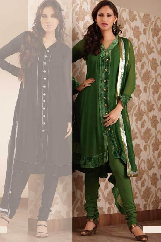 Fern Green Anarkali Shalwar Kameez for Party Wear