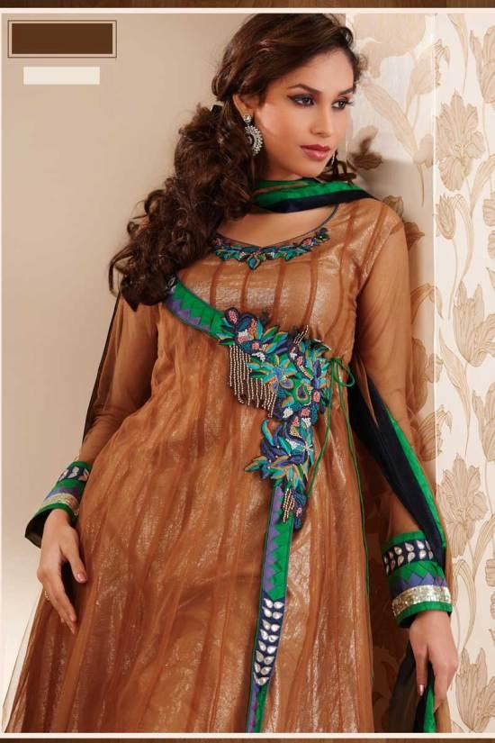 Gorgeous Net Anarkali Salwar Kameez in Brown Color