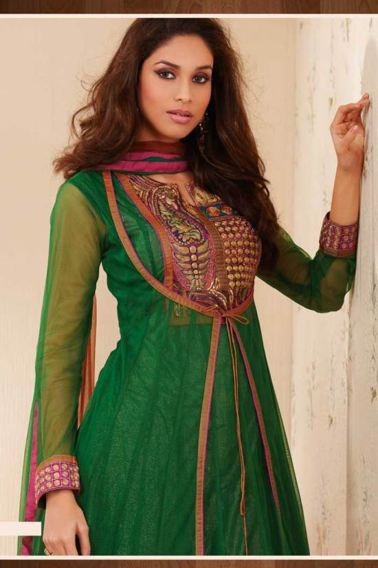 Green Anarkali Salwar Kameez with Net Full Sleeves