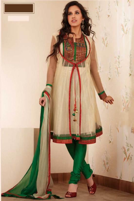 Latest Anarkali Salwar Kameez in Beige Color with Green Chudidar