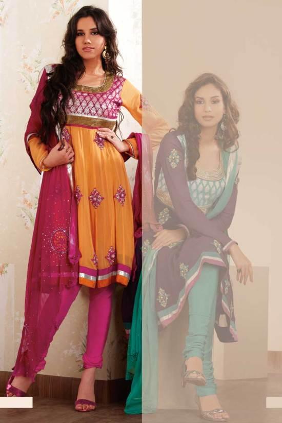 Anarkali Style Shalwar Kameez in Carrot Orange and Violet Color