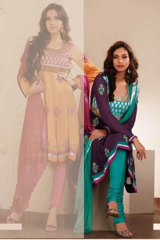 Embroidered Anarkali Salwar Kameez in Bondi Blue Color