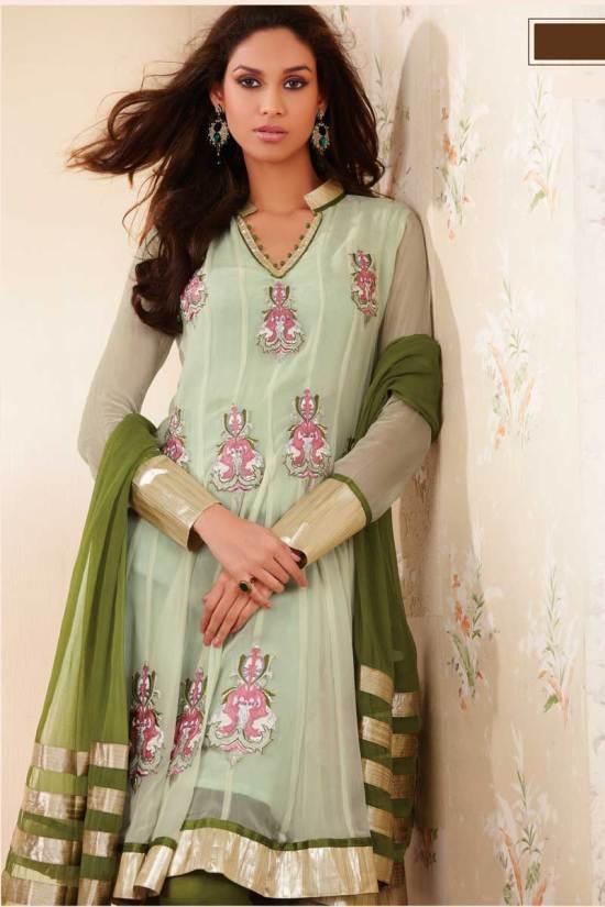 Net Anarkali Churidar Salwar Kameez in Tea and Fern Green Color
