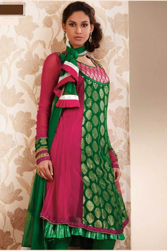Deep Pink and Green Party Anarkali Shalwar kameez 2010