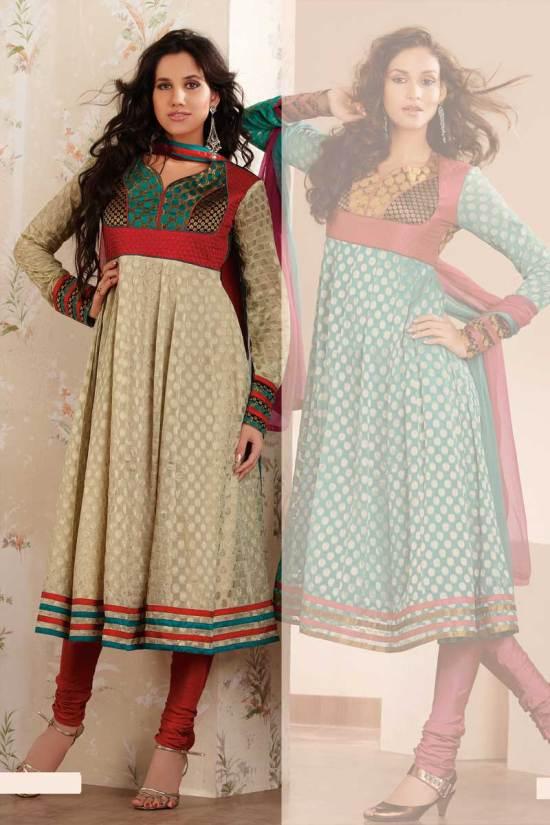 Heavy Anarkali Salwar Kameez in Beige and Red Color