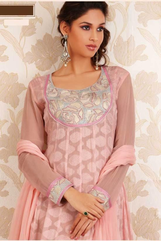 Salmon Pink Embroidered Georgette Party Anarkali Salwar Kameez