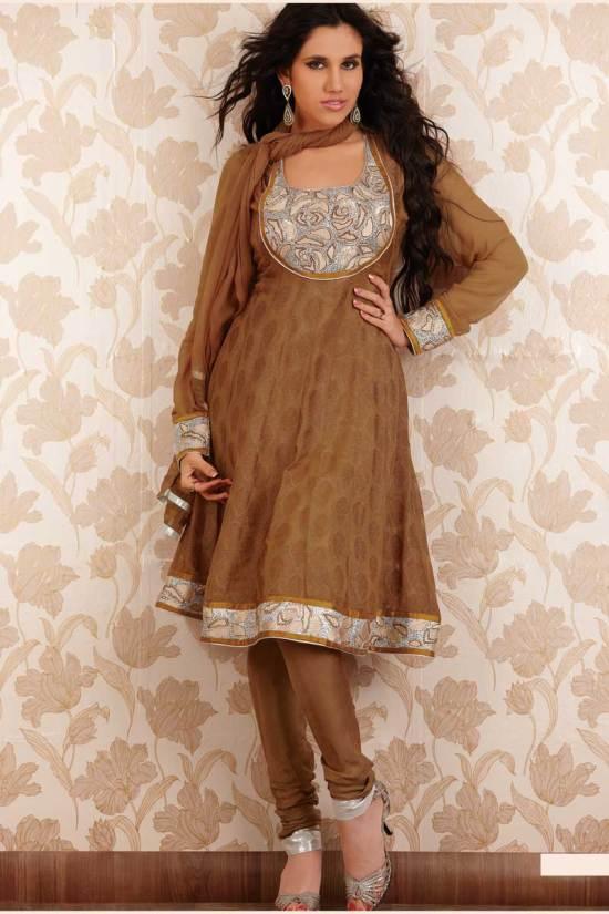 Georgette Embroidered Copper Brown Party Anarkali Salwar Kameez