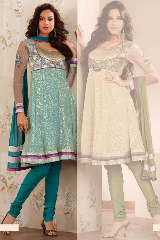 Blue Anarkali Style Shalwar Chudidar Kameez Designs 2010