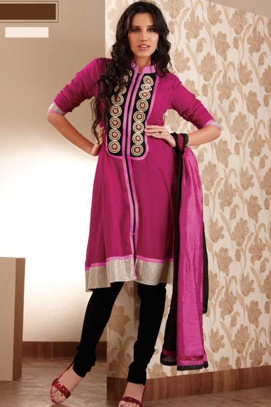 Latest Anarkali Shalwar kameez in Violet Red Color 2010