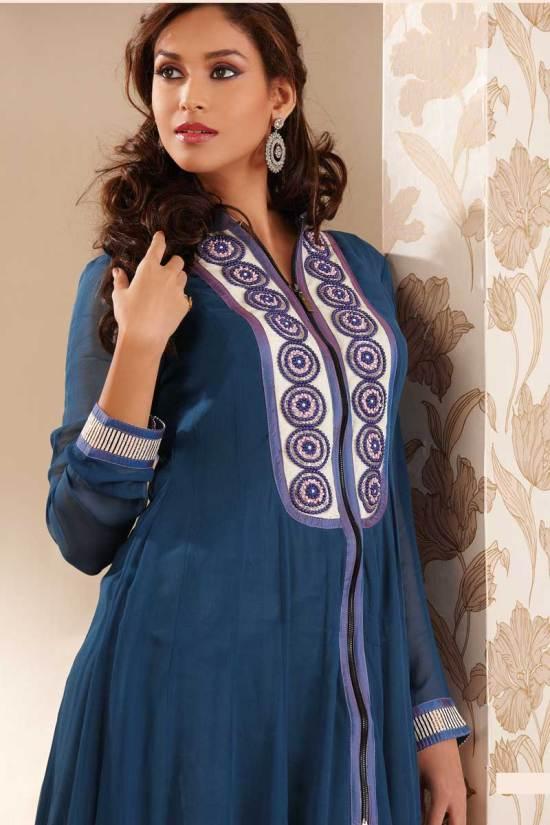 Full Sleeves Anarkali Salwar Kameez in Yale Blue Color