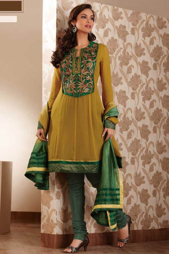 Stunning Anarkali Salwar Kameez Designs 2010 in Olive Green Color