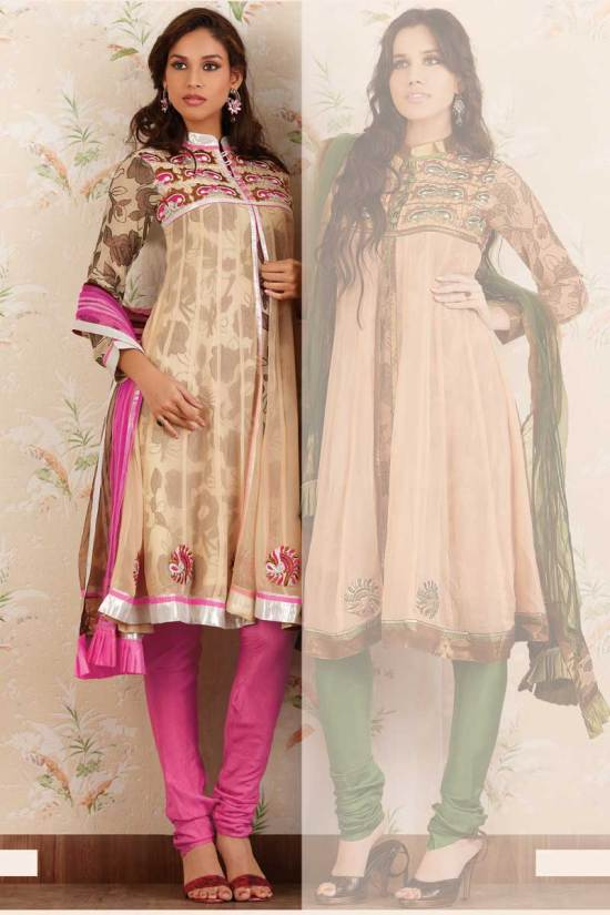 Anarkali Suit in Beige and Red Pink Color for Festival Wear