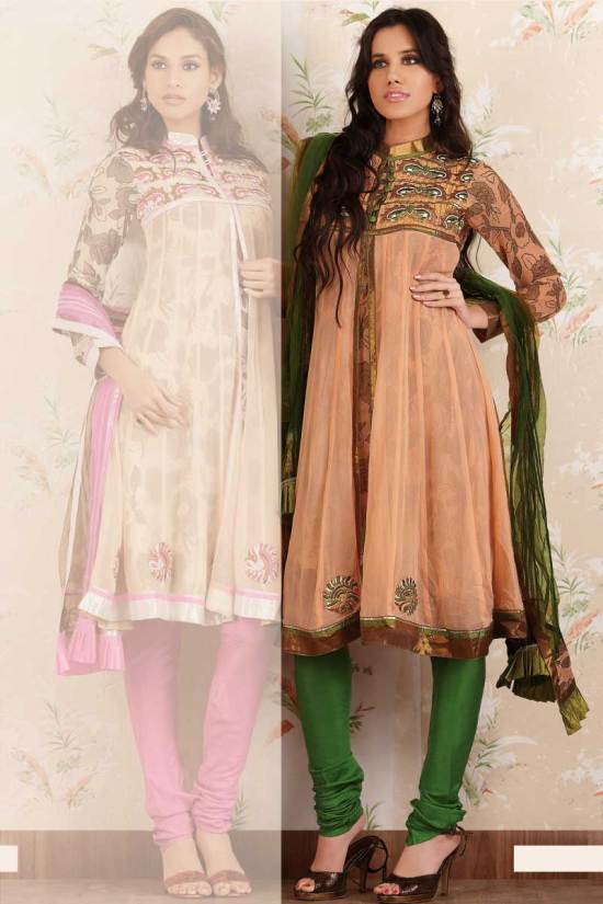 Anarkali Style Salwar Kameez in Peach Color with Green Churidar
