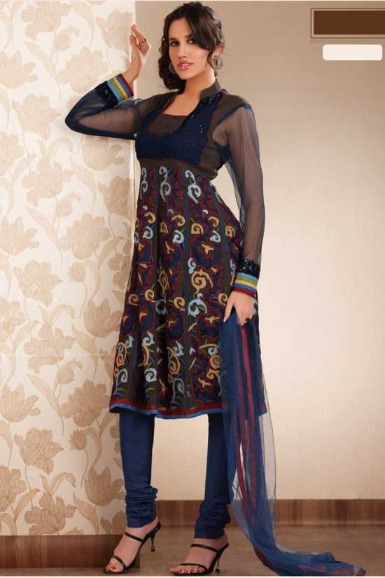 Black Anarkali Shalwar Churidar Kameez Designs 2010