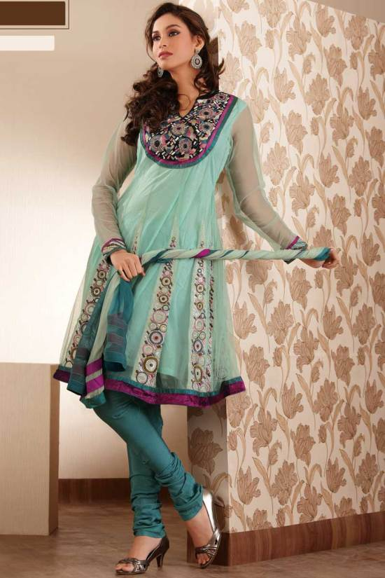 Unstitched Anarkali Salwar kameez in Blue Color