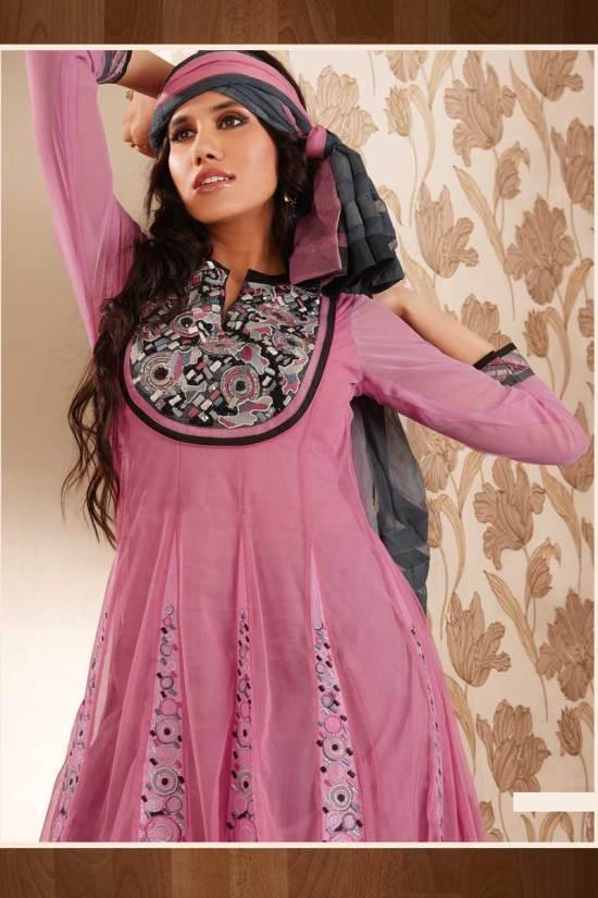 Unstitched Salmon Pink Anarkali Style Salwar Kameez with Neck work