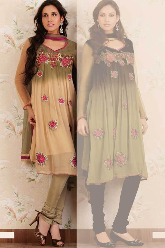 Anarkali Shalwar kameez in Beige Color for Festival Wear