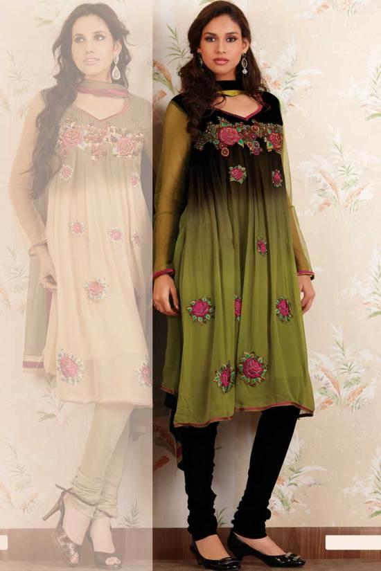 Gorgeous Green Anarkali Style Salwar Kameez Designs 2010