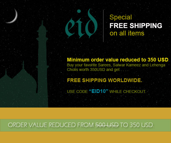 Eid Special Free Shipping Offer, Minimum Order Value Reduced to 350 USD