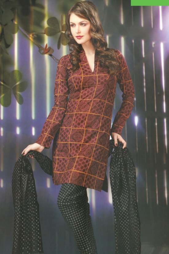 Brown and Black Cotton Churidar Salwar Kameez for Casual Wear