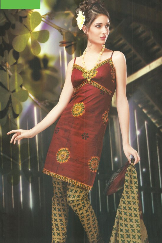 Sleeveless Cheap Chudidar Salwar Kameez 2010 in Cotton Fabric