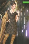 Cheap Black and Brown Churidar Salwar Kameez for Casual Wear