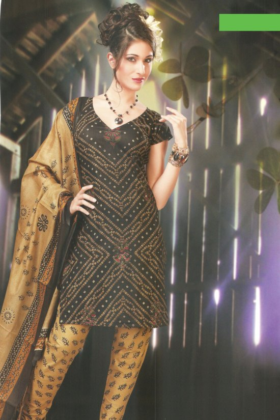 Cheap Black and Brown Churidar Salwar Kameez for Casual Wear