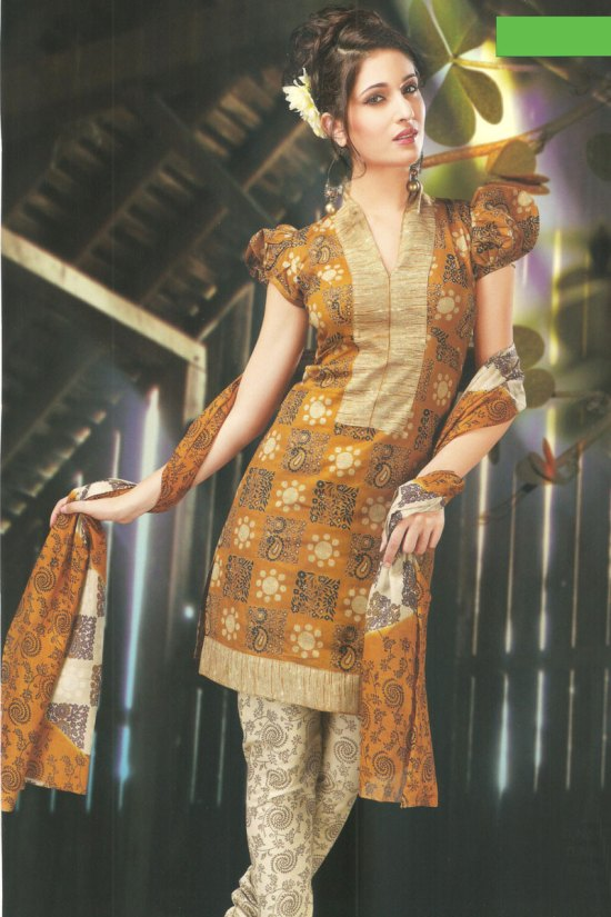 Cotton Copper Brown Casual Churidar Salwar kameez 2010